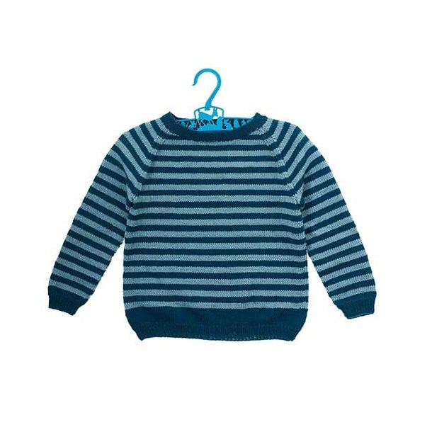 Emil sweater med striber - strikkekit str. 8 år