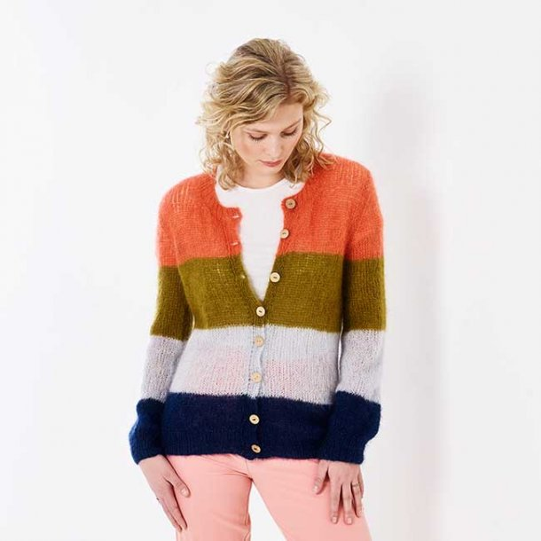 Stribet Cardigan - Large