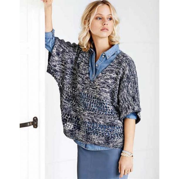 5dd852e37156 Kortærmet bluse med flagermusærmer til damer - gratis strikkeopskrift