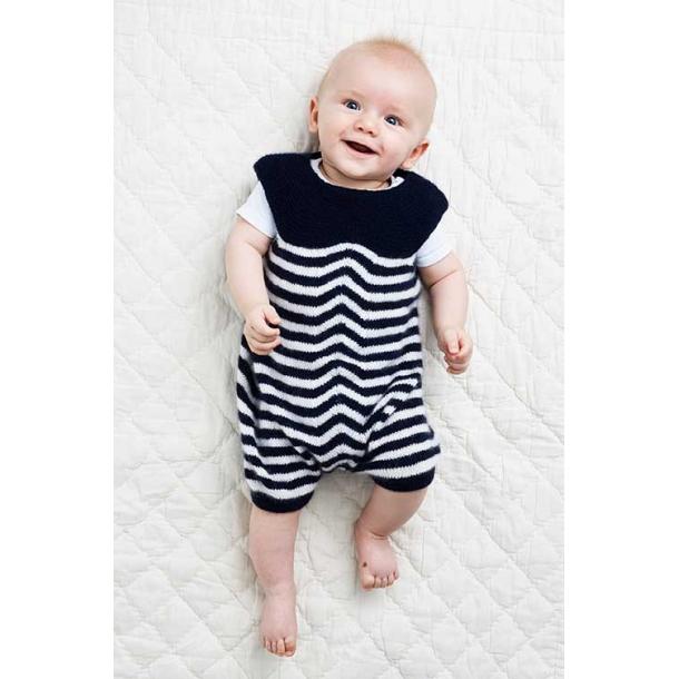 Baby Romper med striber - strikkekit 0 mdr